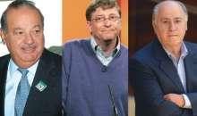 La suma de las fortunas de los más ricos del mundo: Carlos Slim, Bill Gates y Armancio Ortega  asciende a 200.000 millones de dólares.