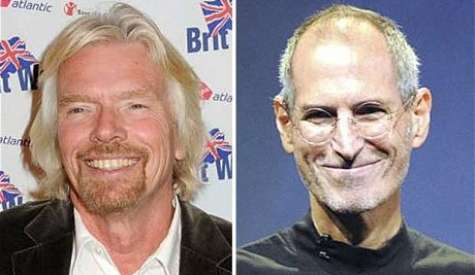 Dos grandes gurus, richard Branson y Steve Jobs. Foto:telegraph.co.uk